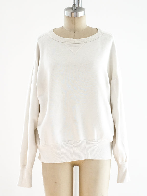 1950's Distressed White Sweatshirt