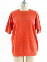 Orange Short Sleeve Sweatshirt