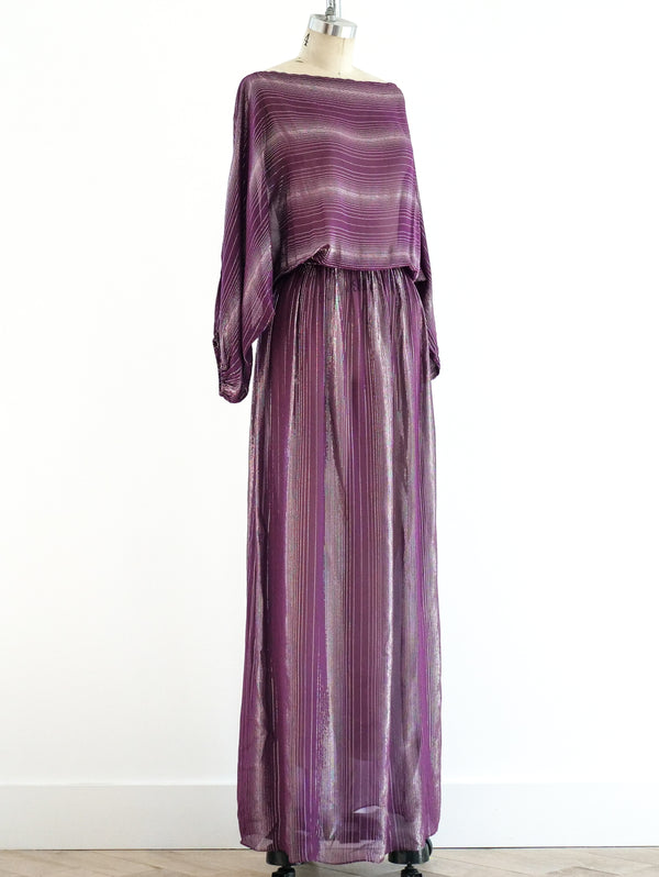 Victor Costa Lurex Stripe Dress