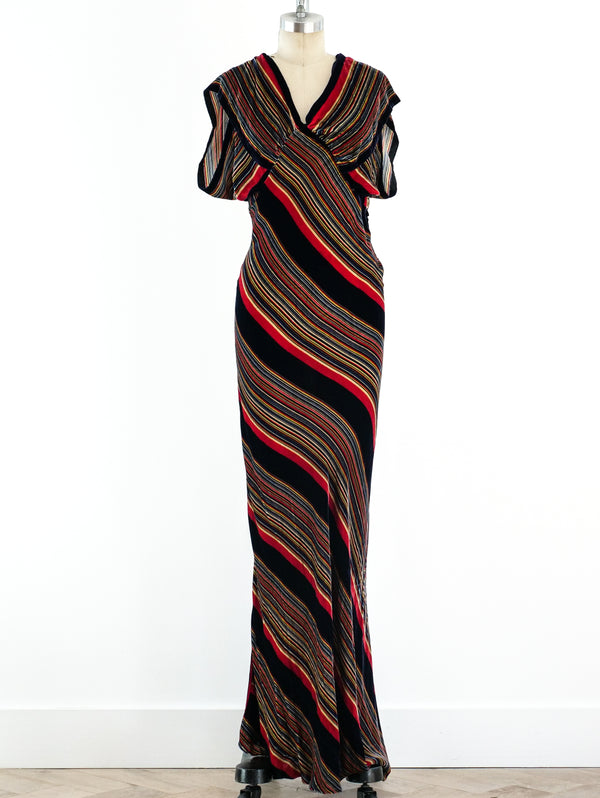 1930's Striped Velvet Bias Gown