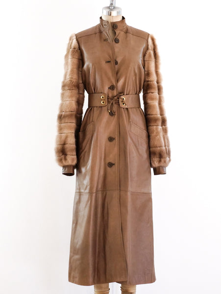 Gucci Leather Coat with Fur Sleeves