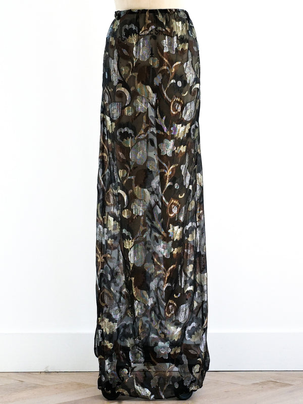 Yves Saint Laurent Sheer Floral Skirt