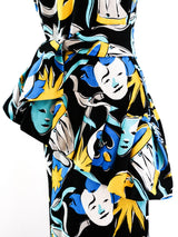 Yves Saint Laurent Harlequin Mask Print Dress