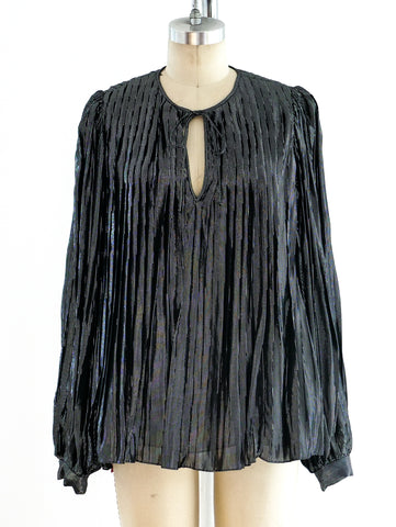 Oscar de la Renta Pleated Metallic Top