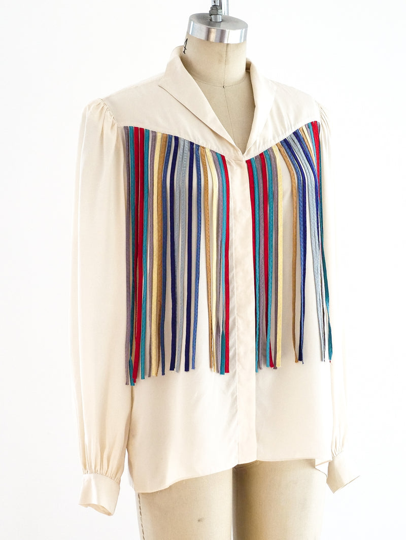 Rainbow Ribbon Fringed Silk Top