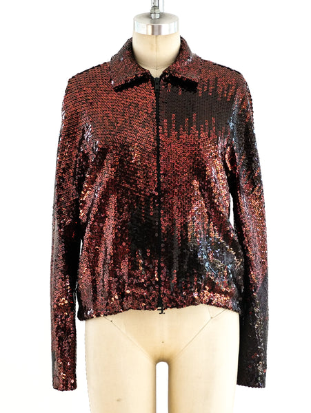 Halston Copper Sequin Bomber