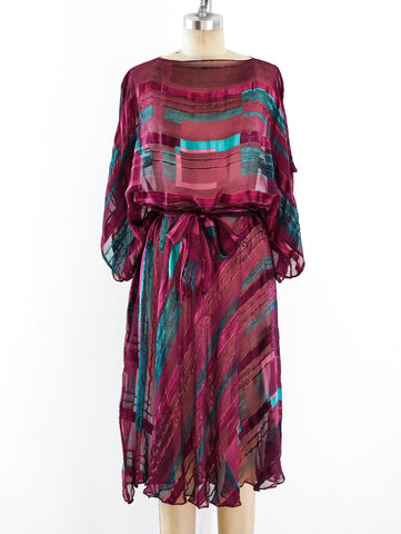 Jewel Tone Silk Chiffon Dress
