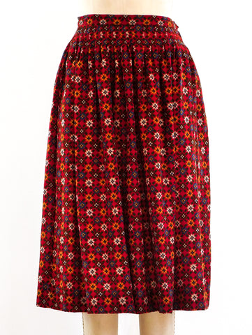 Yves Saint Laurent Floral Print Skirt