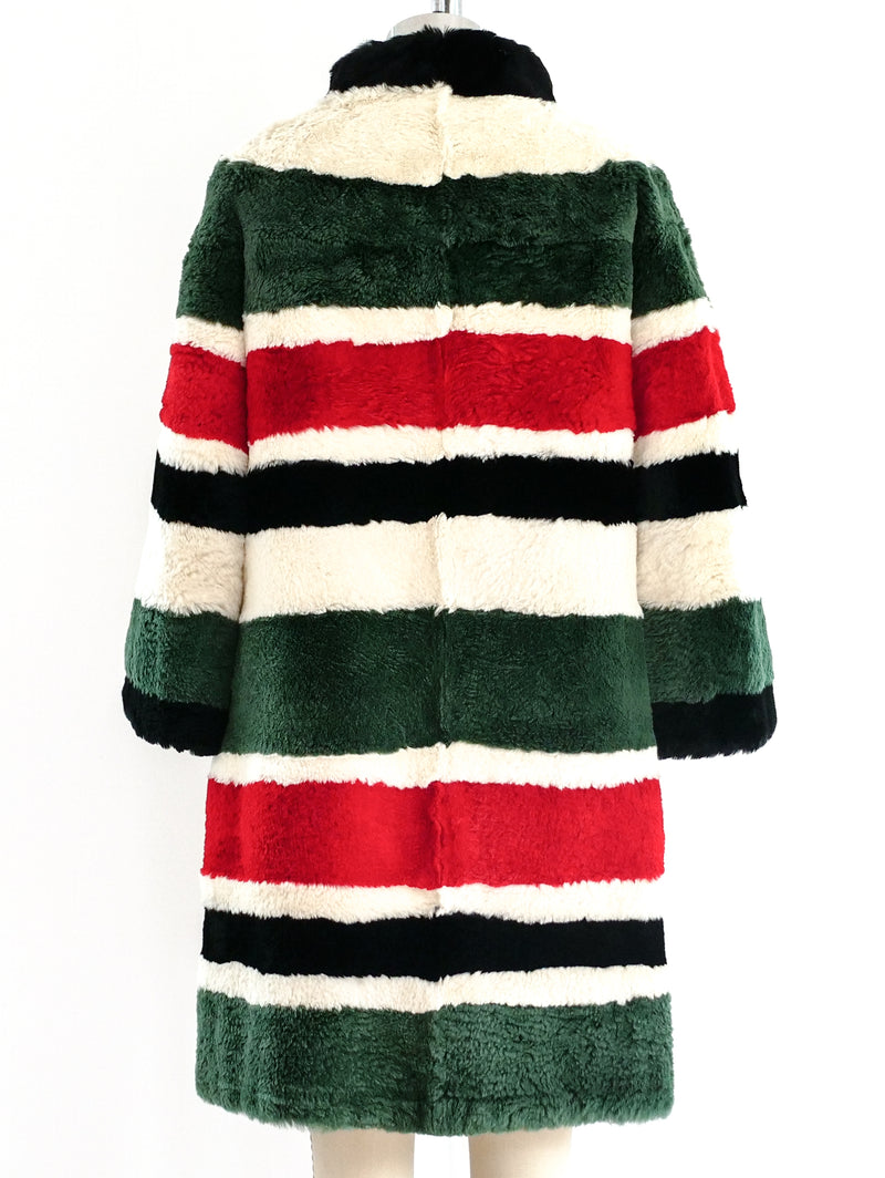 Striped Sheared Beaver Fur Coat