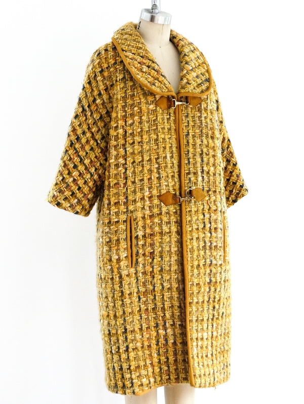 Mustard Tweed Trapeze Coat