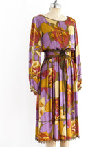 Autumnal Floral Silk Dress