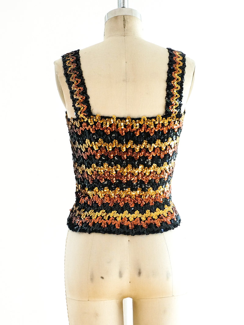 Chevron Sequin Knit Tank