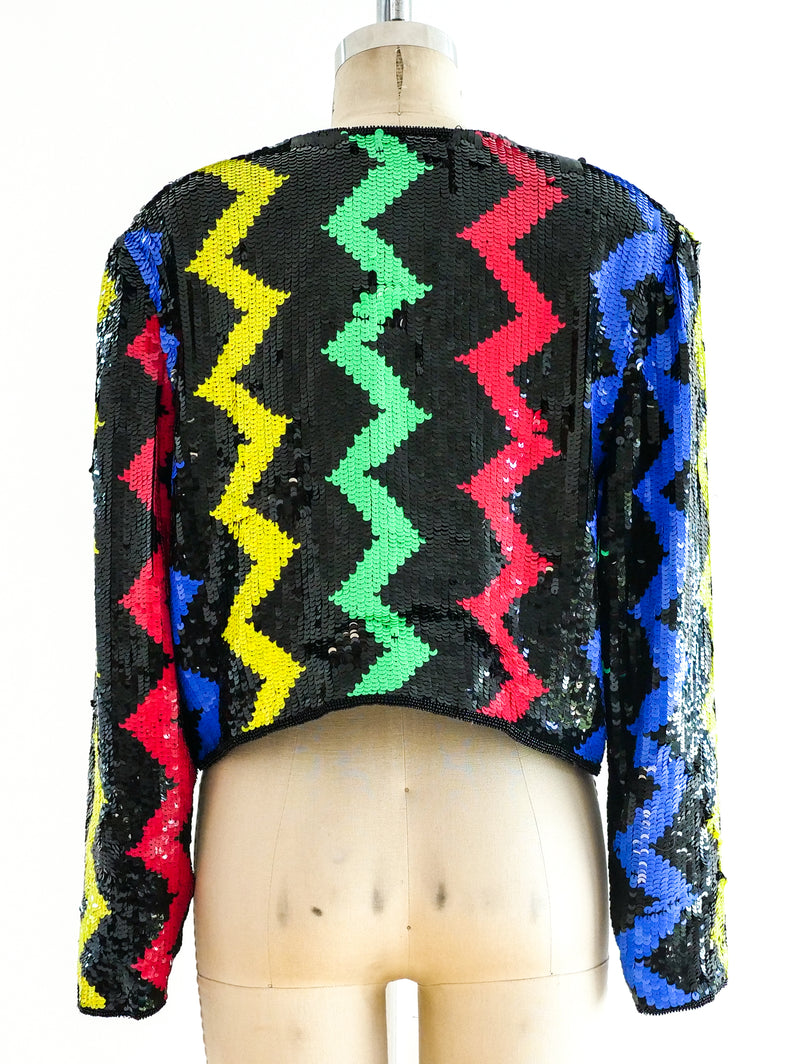 Multicolor Chevron Sequin Jacket