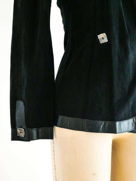 Jean Muir Leather Applique Suede Jacket