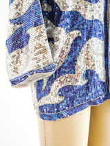 Indigo and Silver Sequin Jacket