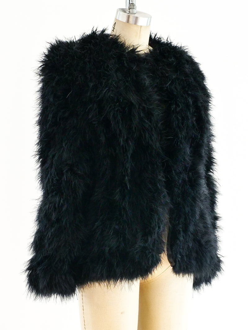 Black Marabou Feather Jacket