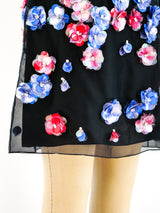 Azzaro Plastic Flower Embellished Dress