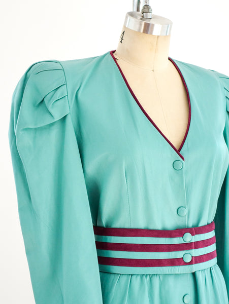 Teal Leather Belted Dress