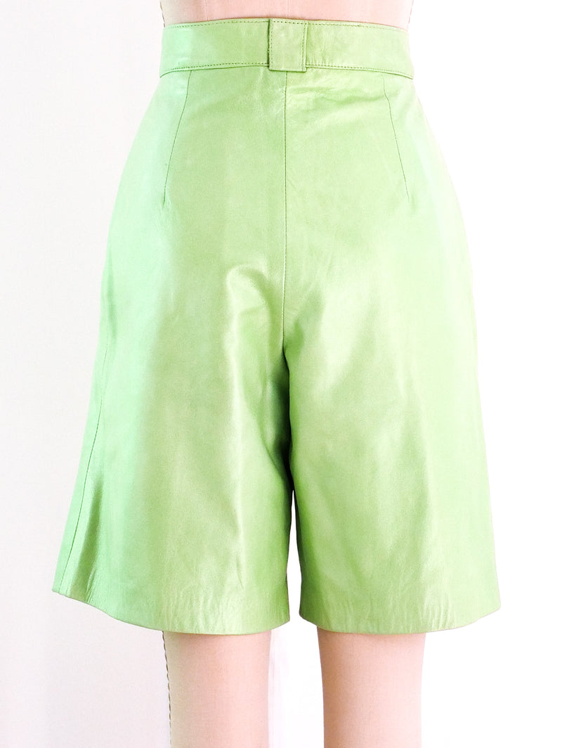 Lime Green Leather Shorts