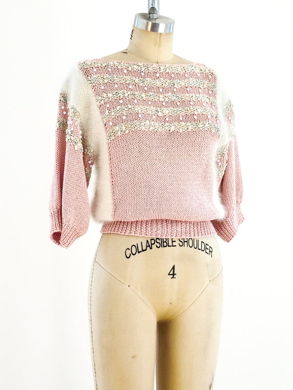 Pink Striped Beaded Sweater