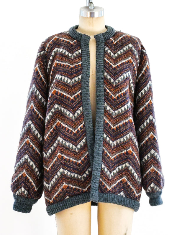 Escada Metallic Chevron Knit Jacket