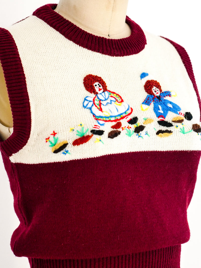 Raggedy Ann and Andy Sleeveless Sweater