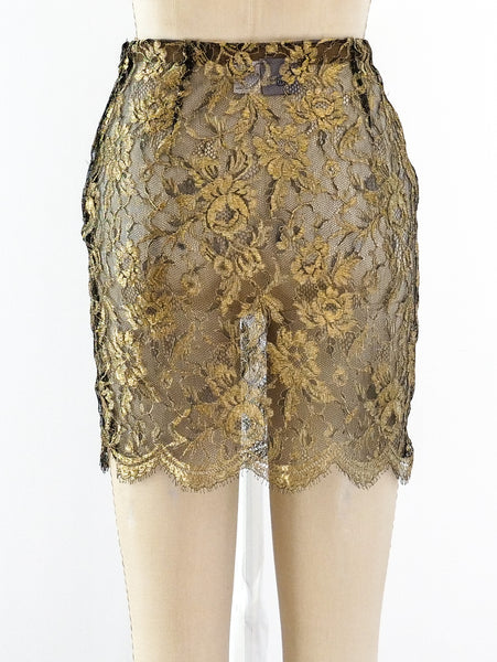 Krizia Gold Lace Mini Skirt