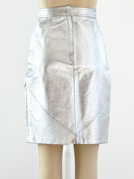 Silver Leather Skirt