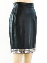 Mirror Trimmed Leather Skirt