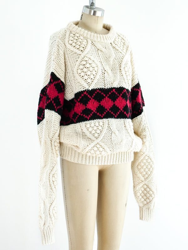 Argyle Banded Cable Knit Sweater