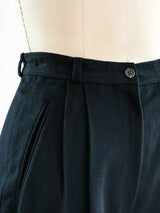 Black Leather Pleated Pants