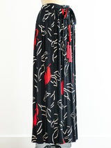 Adolfo Printed Pleated Palazzo Pants
