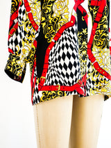 Escada Baroque Buckle Print Blouse