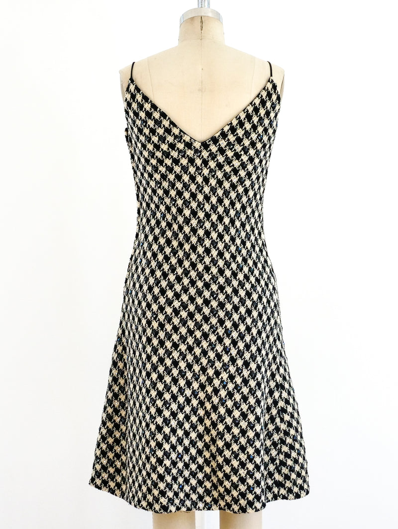 Rhinestone Embellished Houndstooth Dress