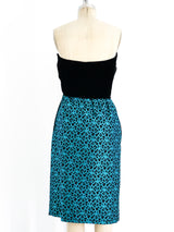 Valentino Turquoise Brocade Bustier Dress