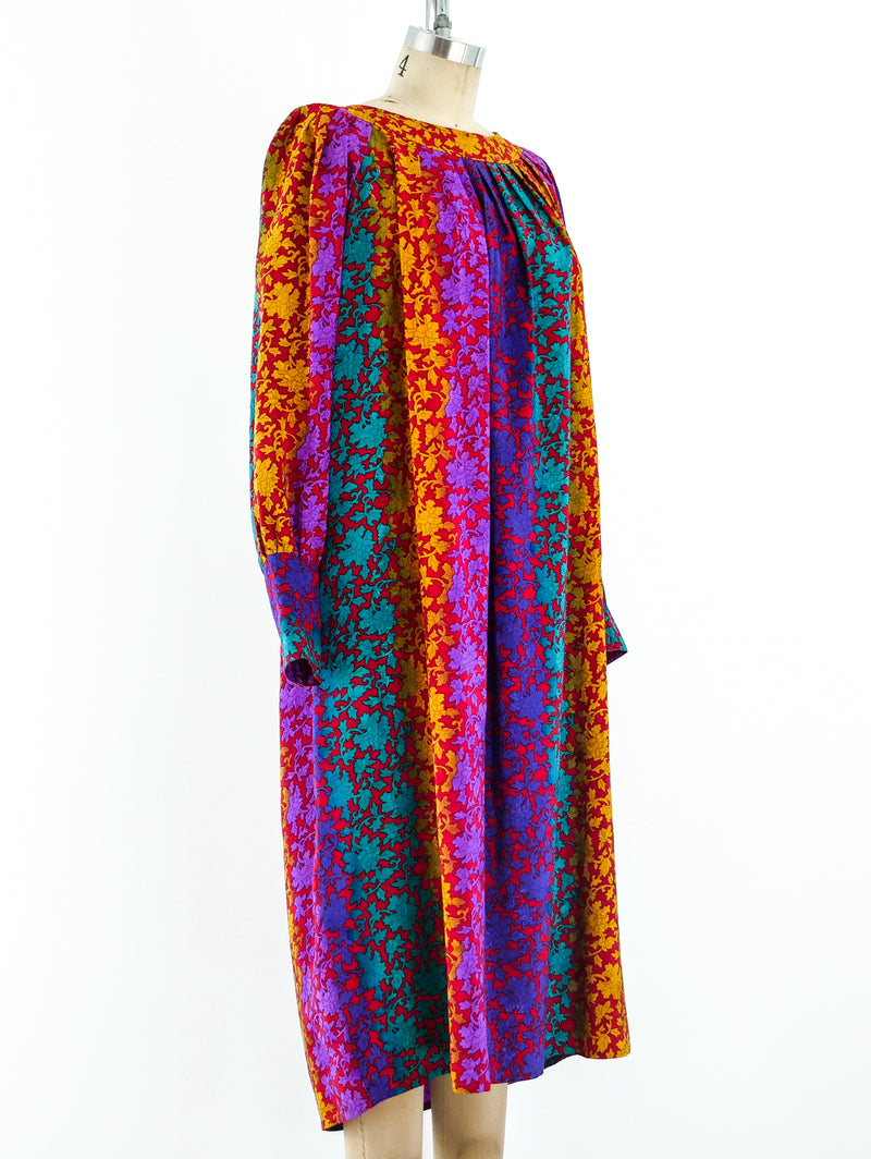 Multicolor Baroque Print Silk Dress