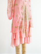 Peacock Feather Pink Chiffon Dress