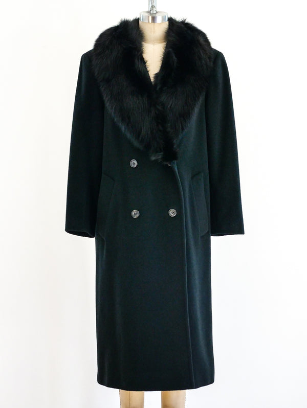 Cashmere Overcoat with Fox Fur Collar