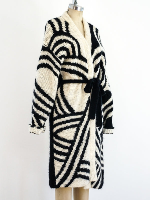 Contrast Pattern Belted Cardigan