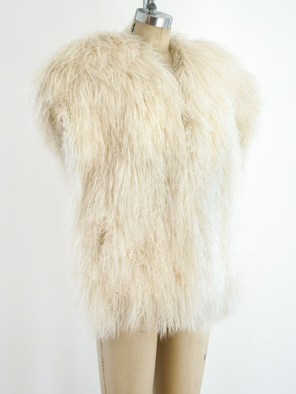 Ivory Mongolian Fur Sleeveless Jacket