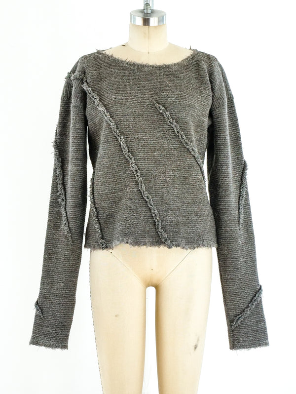Issey Miyake Deconstructed Cropped Sweater