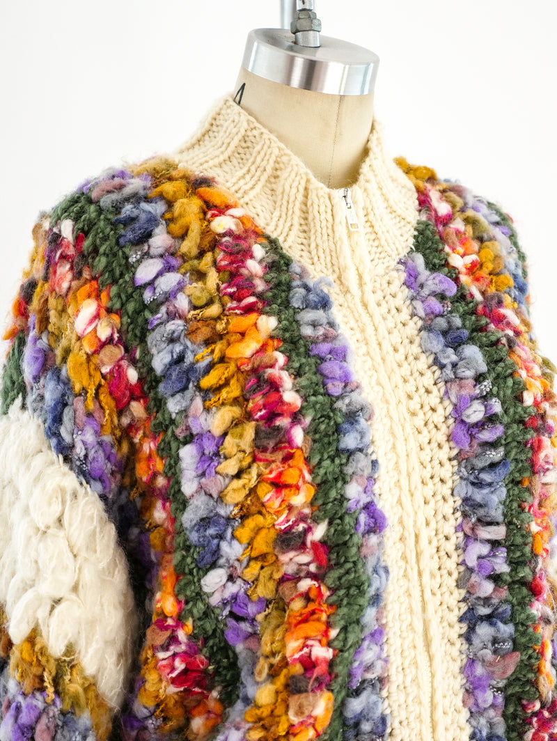 Multicolor Hand Knit Zip Front Sweater