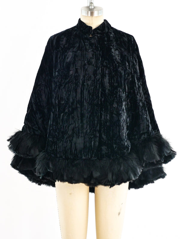 Crushed Velvet Feathered Cape