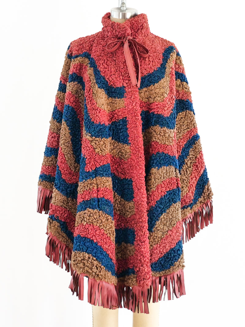 Swirl Pattern Lamb Fur Fringed Cape