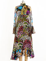 Scott Barrie Dark Floral Chiffon Dress
