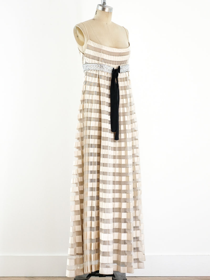 Valentino Pleated Ribbon Empire Dress
