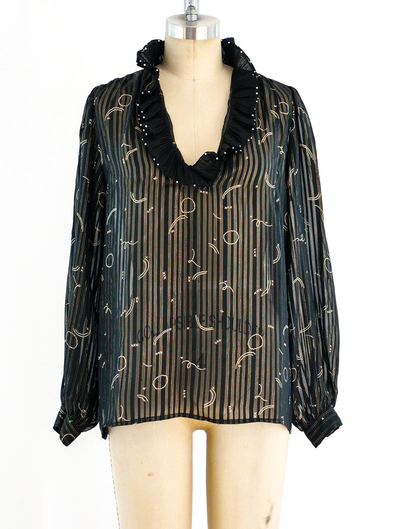 Zandra Rhodes Metallic Stripe Chiffon Top