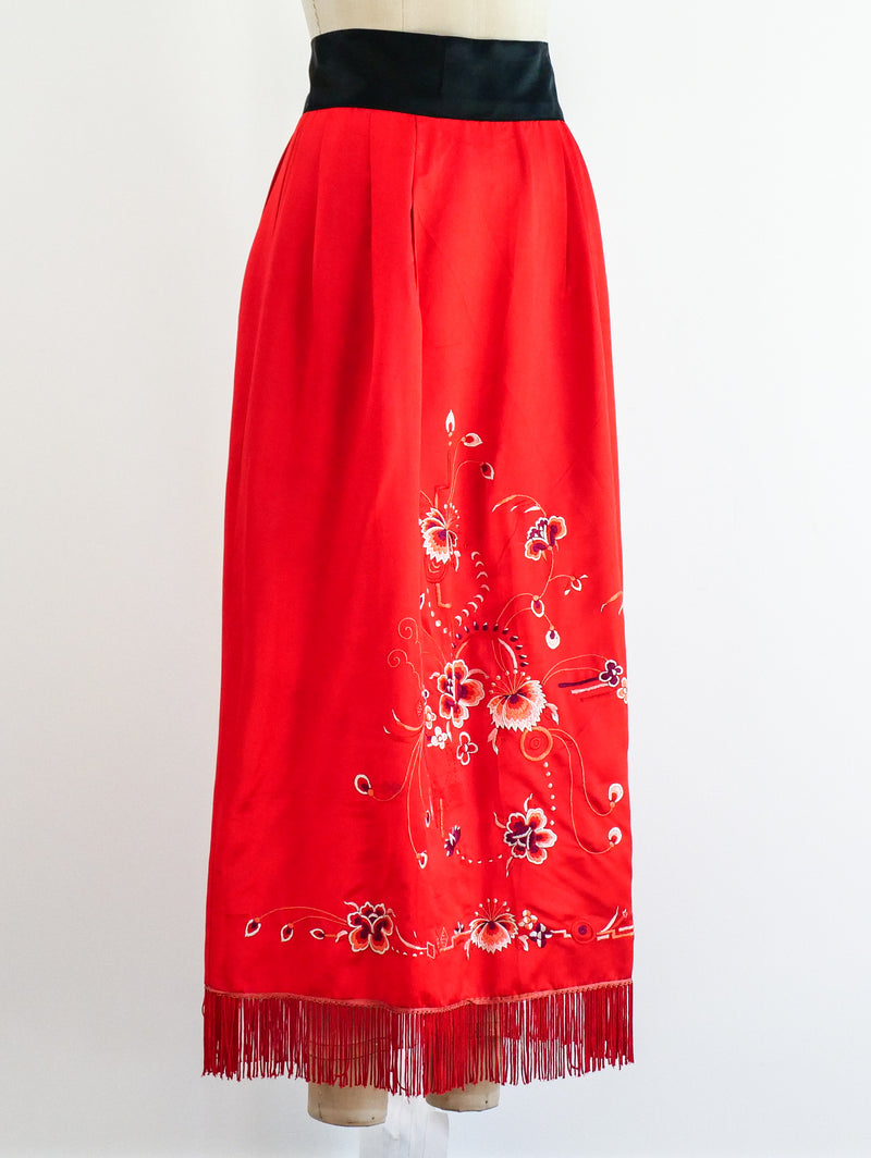 Fringed Floral Embroidered Silk Skirt