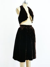 Adolfo Velvet Coin Fringed Ensemble