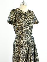 Vicky Tiel Gold Lurex Floral Gown